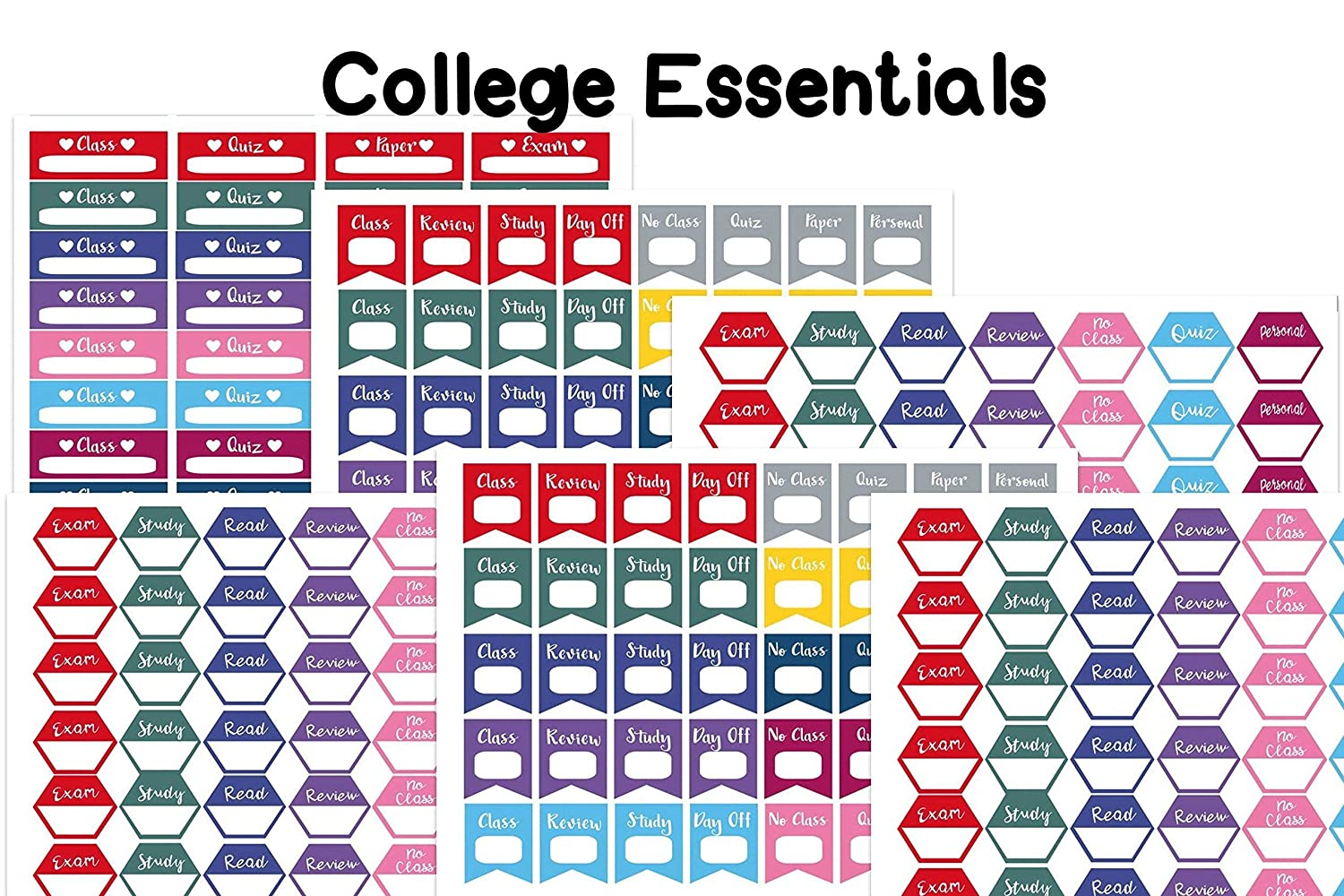 College Essential planner//organizer stickers Sized to fit most planners. 228 stickers on 6 sheets on matte sticker paper