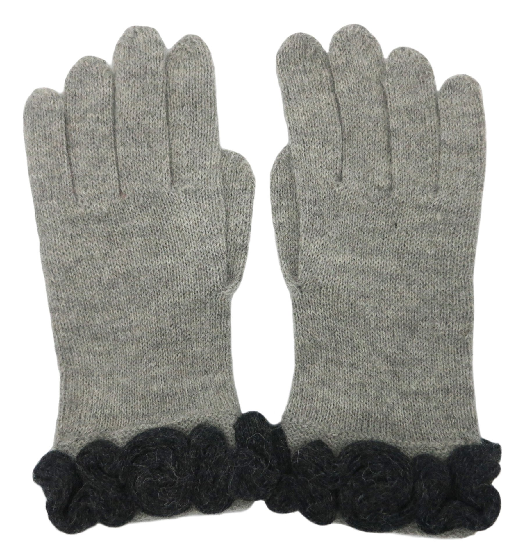 Handmade PURE ALPACA Luxurious Gloves - Designer Gray (Ready to Ship)