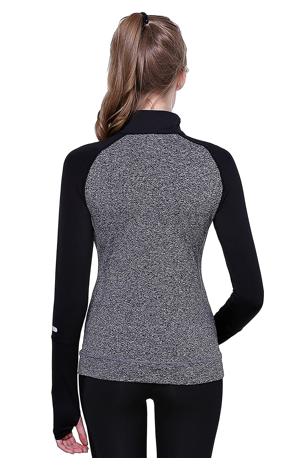 Cityoung Womens Yoga Long Sleeves Half Zip Sweatshirt Girl Athletic Workout Running Jacket
