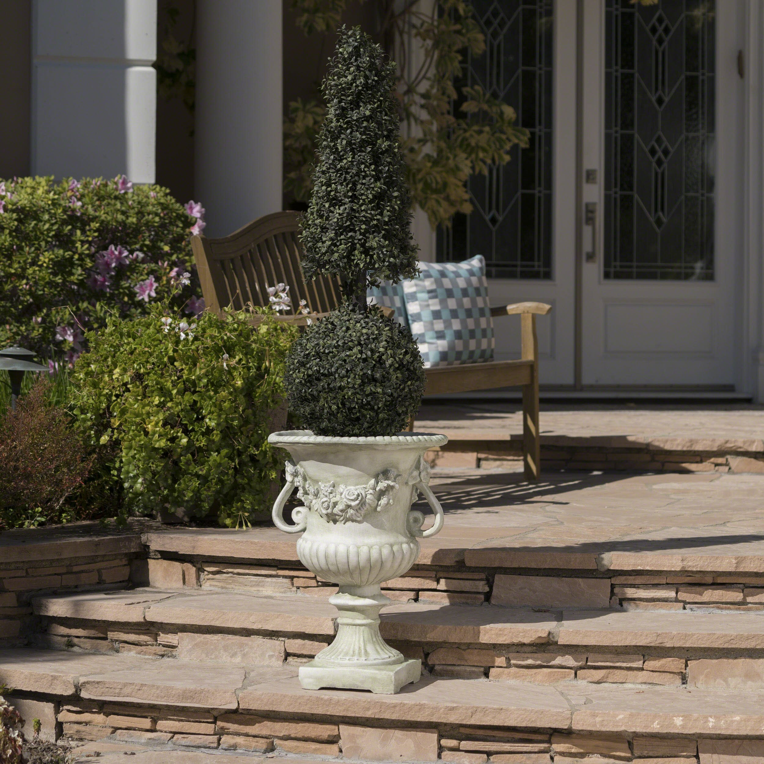 Great Deal Furniture Bunny Vista Outdoor White Moss Finish Light Weight Concrete Urn