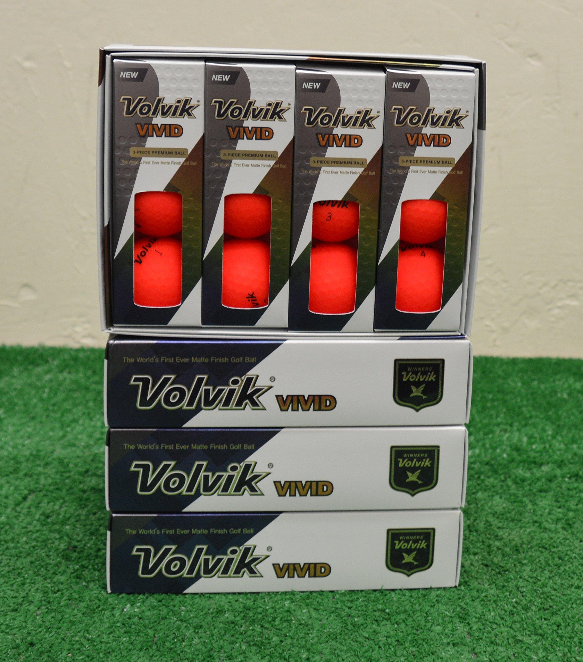4 Dozen 2018 Volvik Vivid - Matte Red Golf Balls