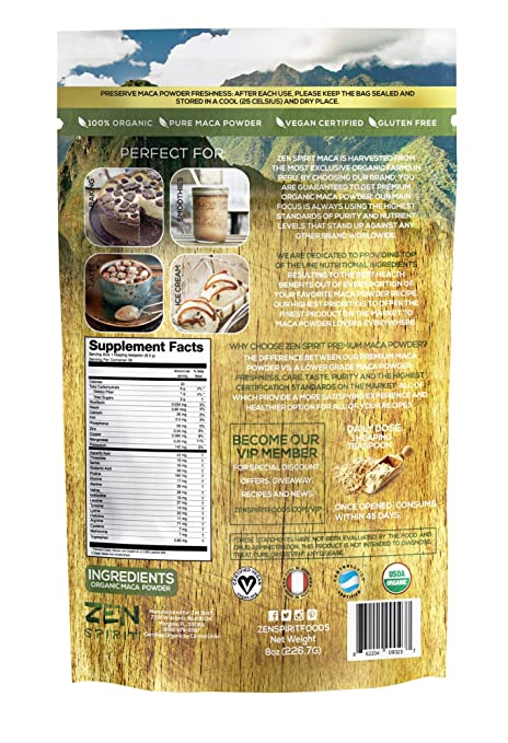 Maca Powder Organic - Peruvian Root Premium Grade Superfood (Raw) - USDA & Vegan Certified - 226.7g (8oz) - Perfect for Breakfast, Smoothies, Baking & ...