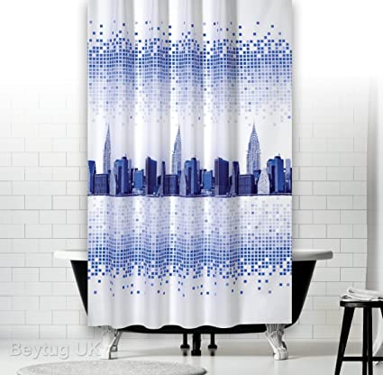 Narrow Width Fabric Shower Curtain Ideal For Cubicles Wide 120CM By 200CM Drop Skyline Amazoncouk Kitchen Home