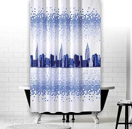 Narrow Width Fabric Shower Curtain Ideal For Cubicles Wide 120CM By 200CM Drop