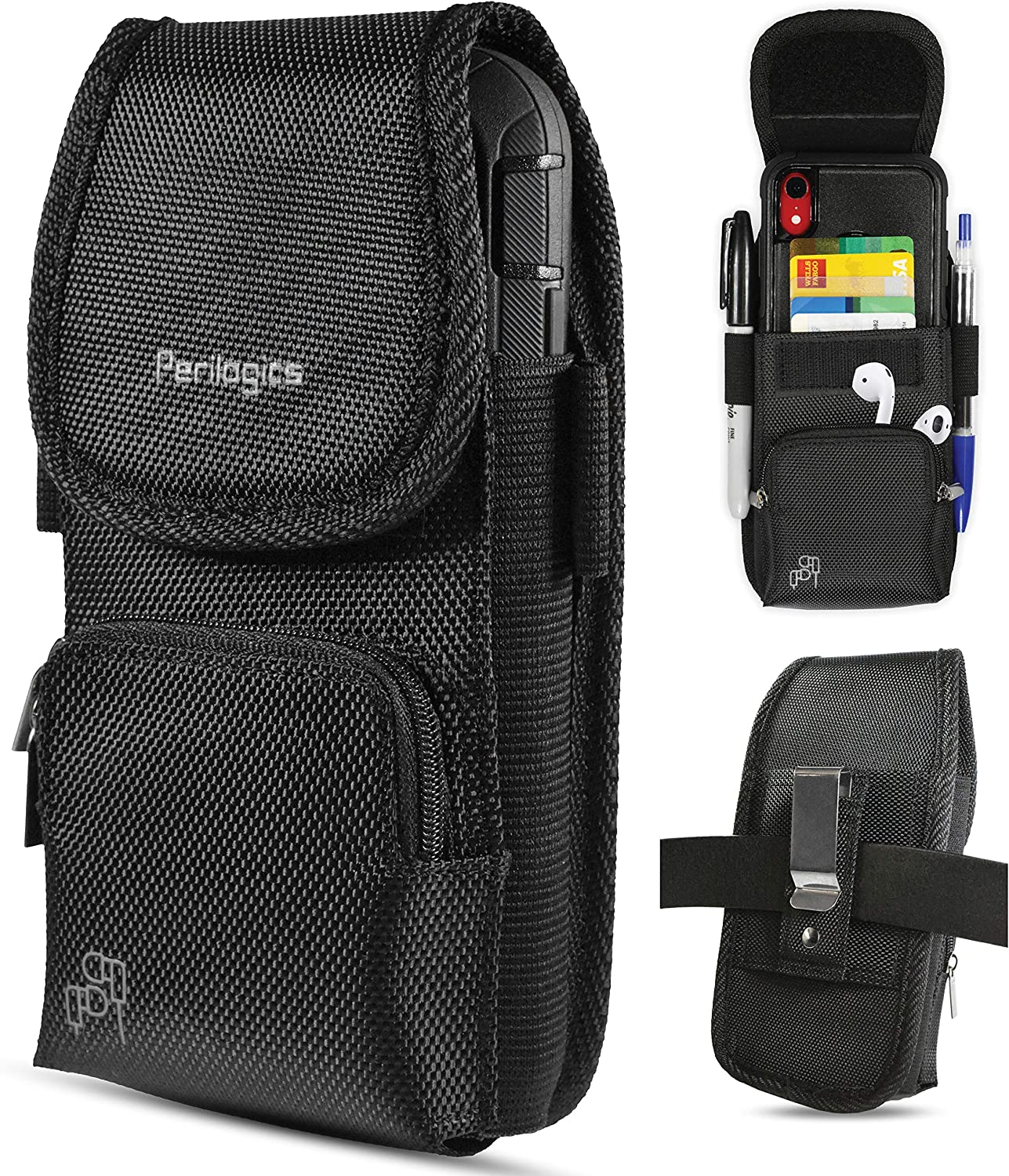 Nylon Cell Phone Holster with Magnetic Cover. Belt Clip Pouch for iPhone 12 Pro Max, 12 Pro, 11 Pro Max, 11 Pro, Xs Max, Xr with Rugged Phone Case. Zipper Storage and Credit Card Pocket. (Magnet)