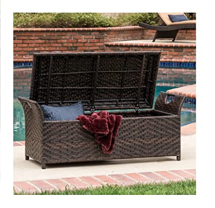 High Quality Outdoor Wicker Storage Bench Seat Box