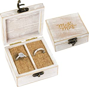 Strova Wooden Ring Box for Wedding Rings and Couple Jewelry - Engraved Mr. & Mrs. Lettering - Ring Bearer Box for Display or Personal Organizer - Brass Latch and Burlap Cushions