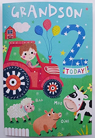 Grandson 2nd Two Today Tractor Animals Birthday Card Quality Nice