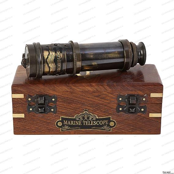 Spyglass Teleskop mit Holzkasten Messing