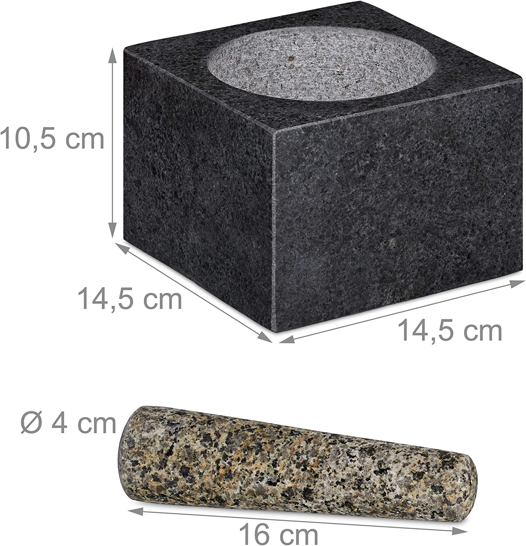 LxP: 14,5x14,5 cm Pietra Lucida in Granito Volume: 500 ml Erbe e Spezie Relaxdays Mortaio e Pestello Grigio Scuro