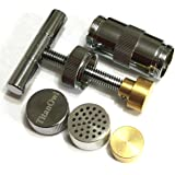 T Press Tool 3.5 Inches Engineered Brass Cylinder Heavy Duty Metal T Shape, Spice, Tincture Crusher Silver Color