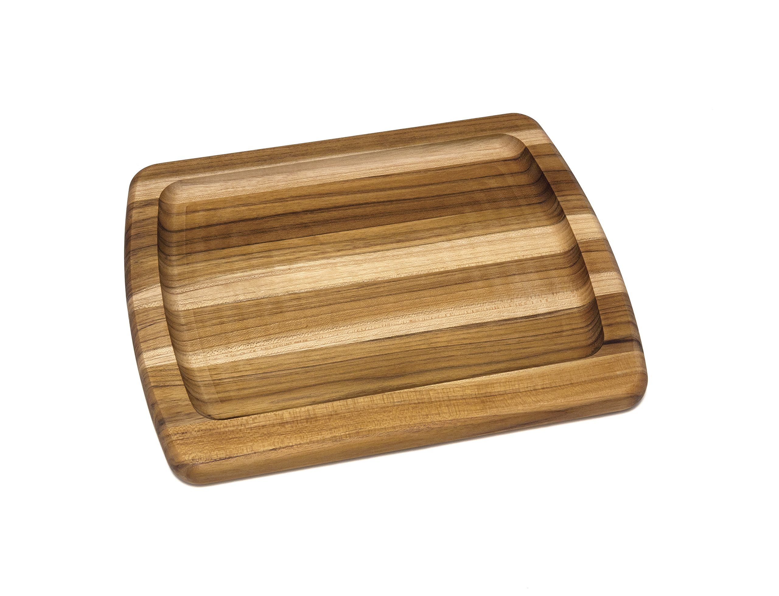 Lipper International 7223 Teak Wood Edge Grain Serving Platter, Small