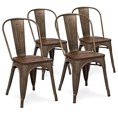 Best Choice Products Set of 4 Industrial Distressed Metal Bistro Dining Side Chairs w Wood Seat Copper Bronze
