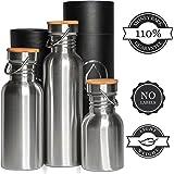 Edelstahl Trinkflasche / Wasserflasche Isoliert und Normal 1L (1000 ml), 0,75L (750 ml), 0,5L (500 ml) 0,35L (350 ml) - Lebensdauer GARANTIE, Ohne Logos, Kein Plastik, BPA Frei mit Bambus Holz Deckel
