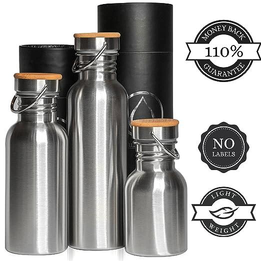 70 opinioni per Borraccia Acciaio Inox Parete Singola e Doppia (Termica) 1L, 0.75L (750 ml),
