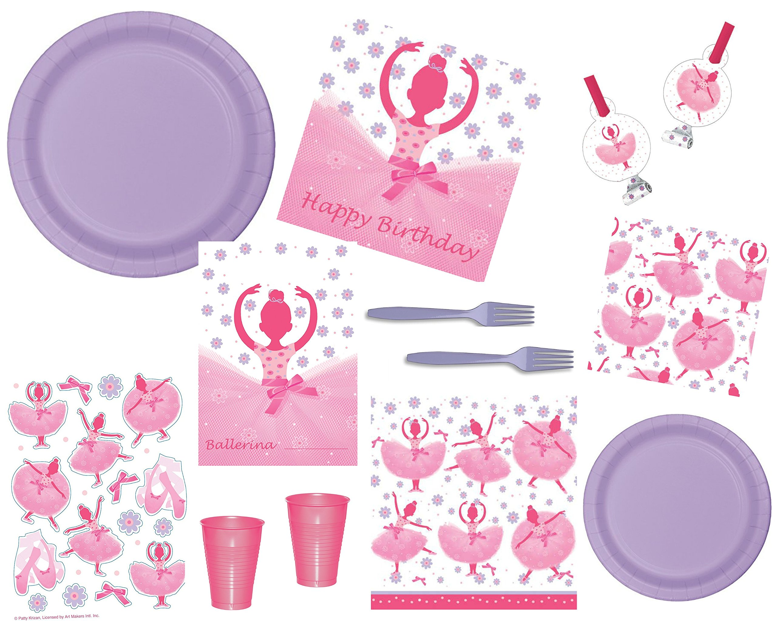 Ballet/Ballerina Deluxe Party Supply Bundle Tutu Much Fun For 16 Guests - Includes Plates, Napkins, Forks, Cups, Tablecover, Treat Bags and Favors