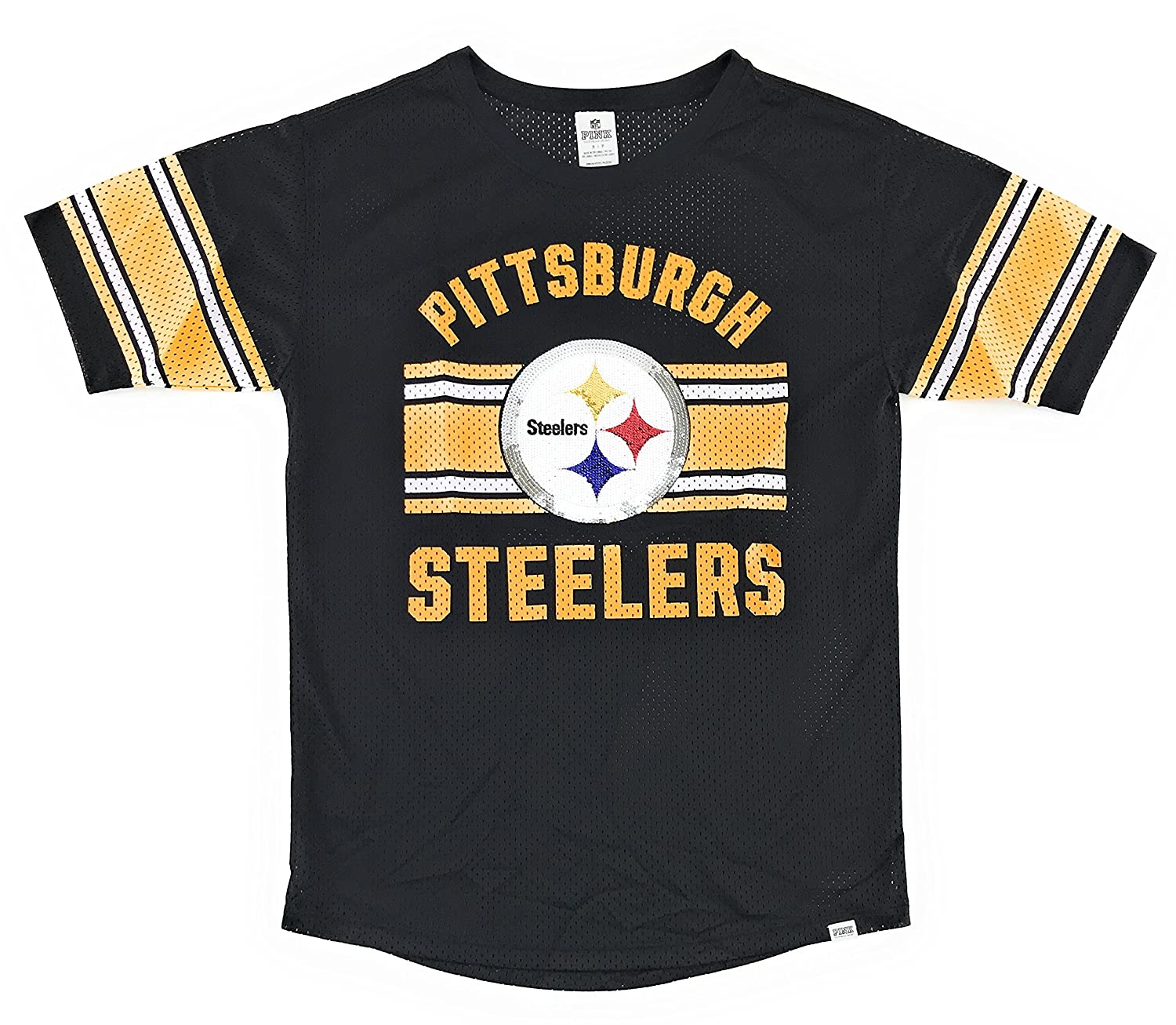 6921ac669 Victoria s Secret Pink Pittsburgh Steelers Bling Mesh Shirt Small Black at  Amazon Women s Clothing store