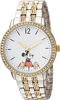 DISNEY Womens Mickey Mouse Analog-Quartz Watch with Alloy Strap, Two Tone, 19