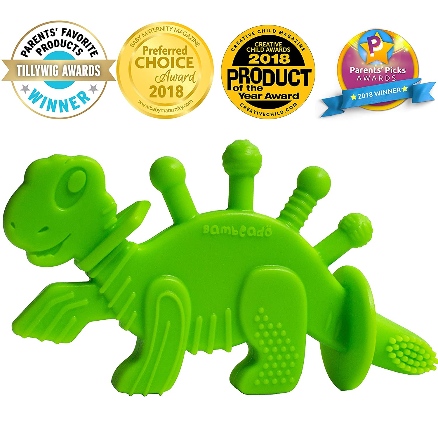 Baby Teether Toy Extraordinaire: Dibly - The Dino-Sore-No-More Baby Teething Toy by Bambeado. Our BPA Free Teethers Help take The Stress Out of Teething, from Newborn Baby Through to Infant.