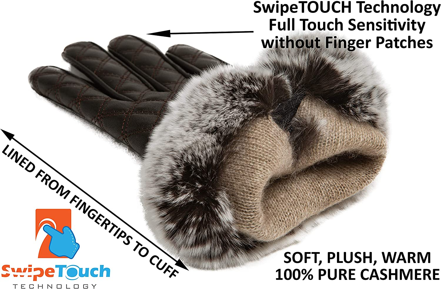Genuine Rex Rabbit Fur Cuff Touchscreen Gift Box by CANDOR AND CLASS Womens Cashmere Lined Sheepskin Leather Gloves