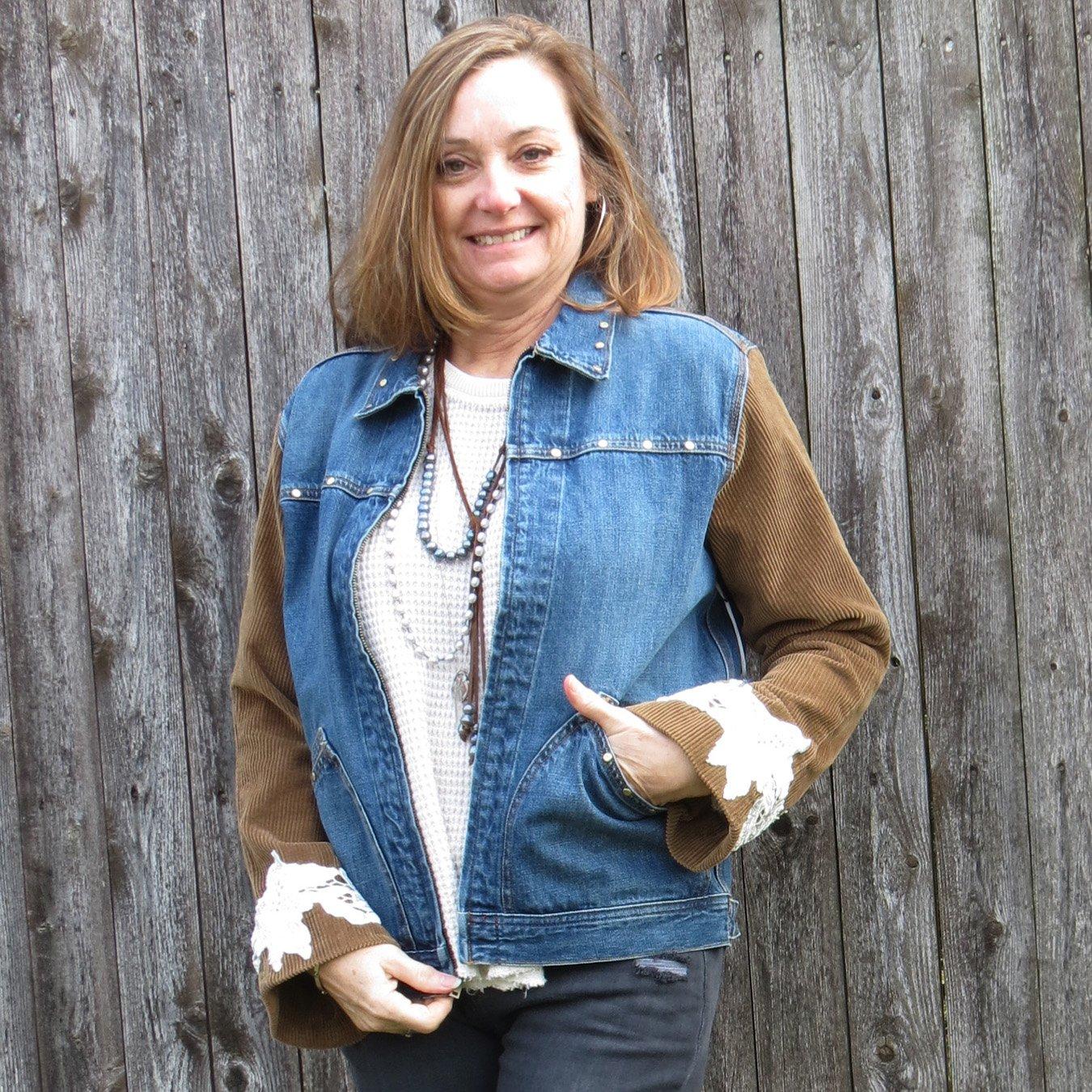 Soft Wide Whale Carmel Corduroy + Lace Sleeved Mixed Media Zip Denim Jacket