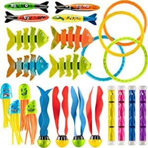 Prextex 24 Piece Diving Toy Set Summer Fun Underwater Sinking Swimming Pool Toy for Kids