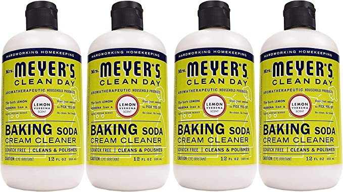 Mrs. Meyer's Baking Soda Cream Cleaner, Lemon Verbena, 12 OZ (Pack - 4,Count,4) best natural kitchen cleaning products