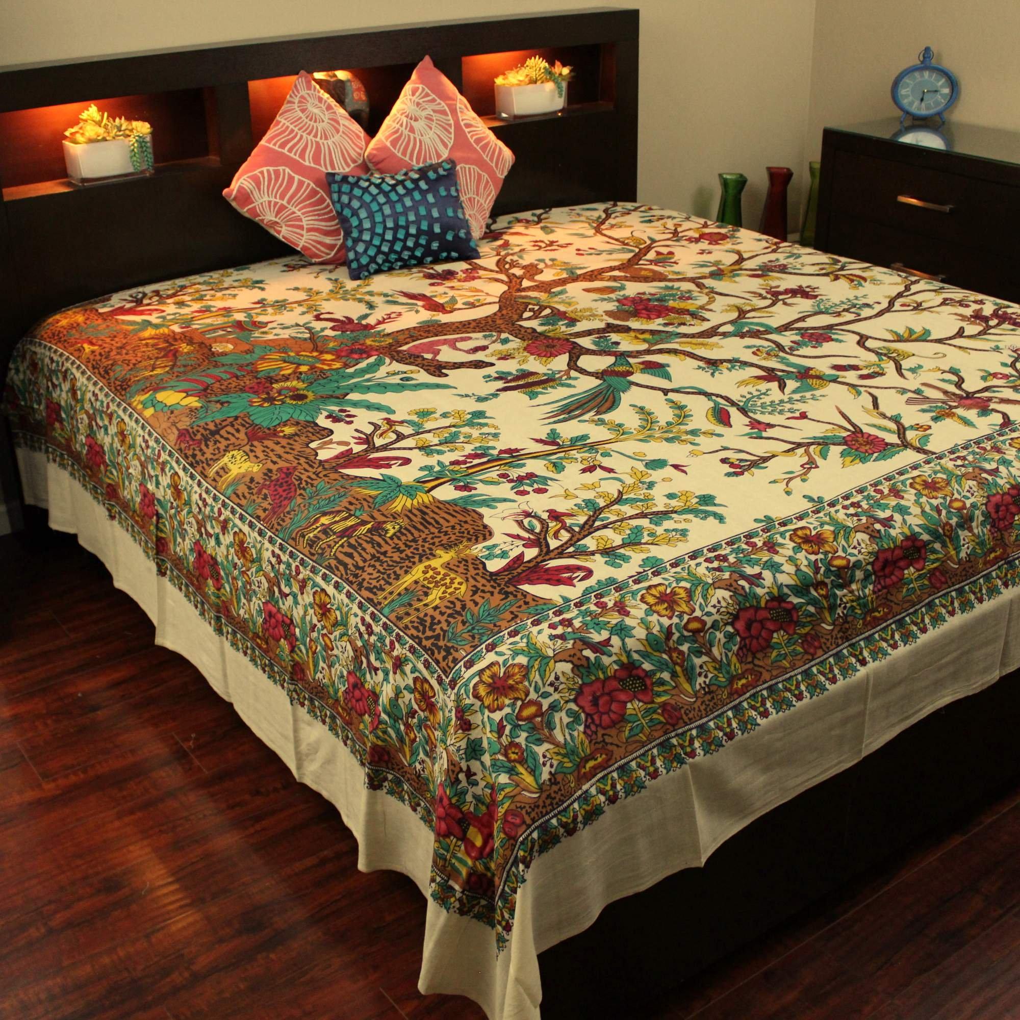 Handmade Tree of Life 100% Cotton Tapestry Tablecloth Bedspread Bed Sheet Beach Sheet Dorm Decor Tan (Full)