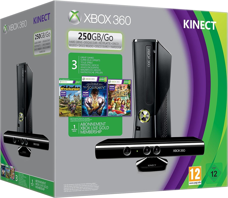 Db-Line 250GB Xbox 360 Kinect Spring Value Bundle - juegos de PC (Xbox 360, 512 MB, IBM PowerPC, DVD, 250 GB, 50/60 Hz) Negro: Amazon.es: Videojuegos