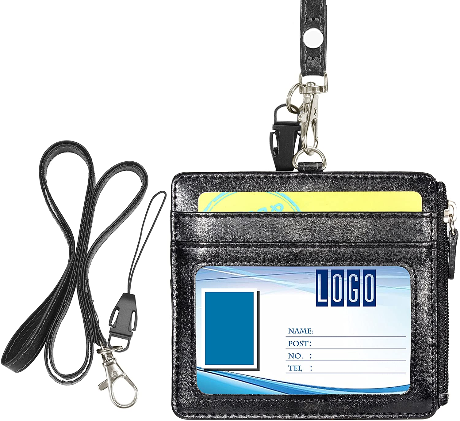Badge Holder with Zip, Wisdompro 2-Sided PU Leather ID Badge Holder with 1 ID Window, 4 Card Slots, 1 Side Zipper Pocket and 1 Piece 20 Inch Leather Neck Lanyard Strap - Black (Horizontal)