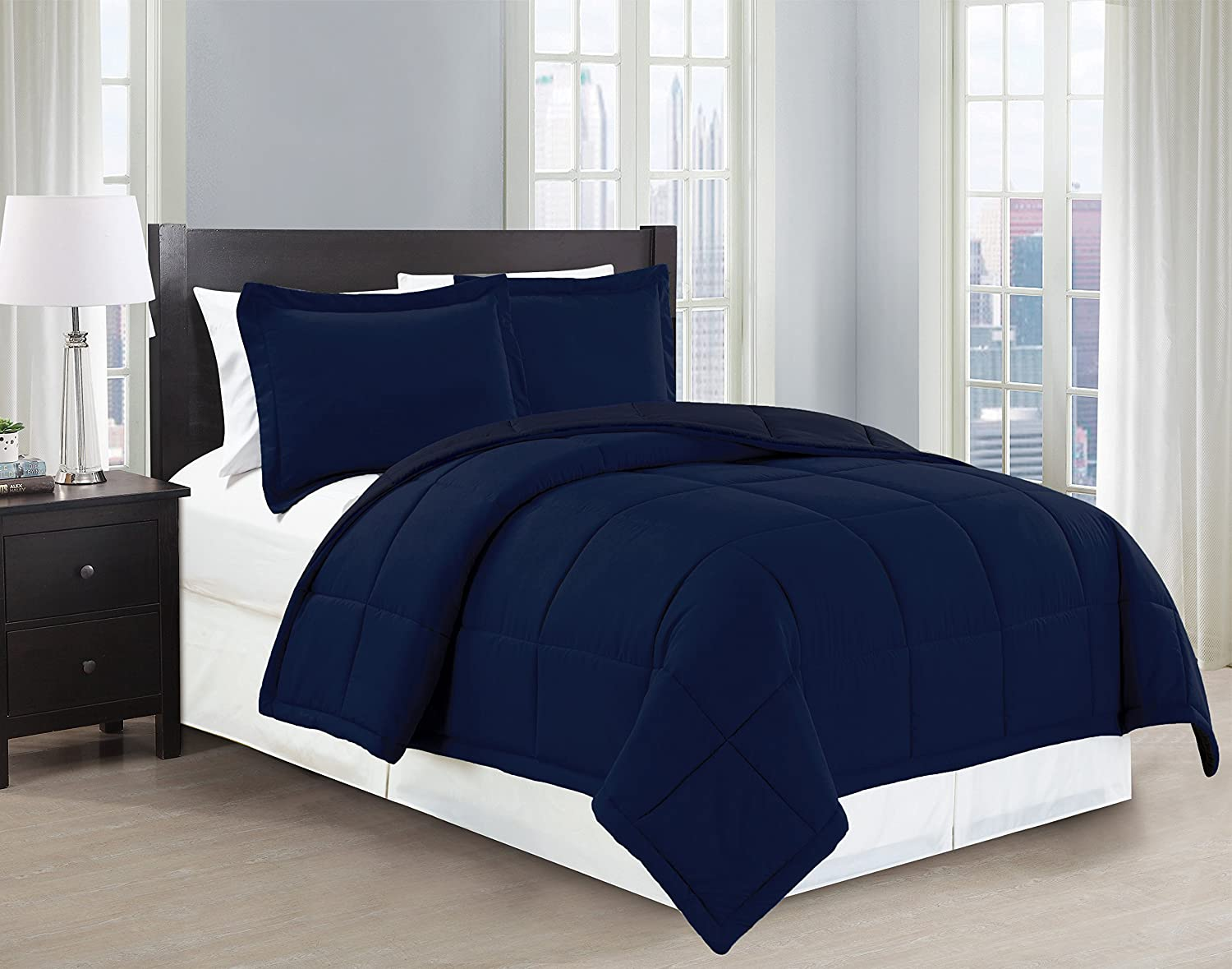 Mk Collection 3 Pc Down Alternative Comforter Set Solid king, Navy Blue New