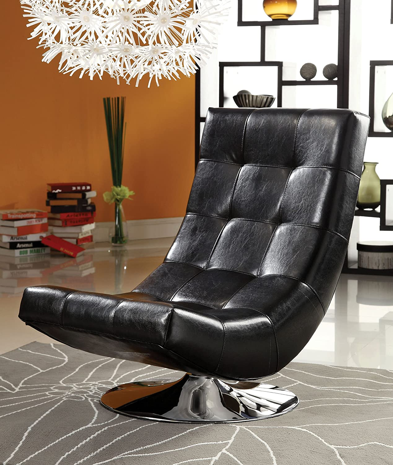 Amazon.com: Furniture Of America Graham Leatherette Armless Swivel Chair;  Black: Kitchen U0026 Dining