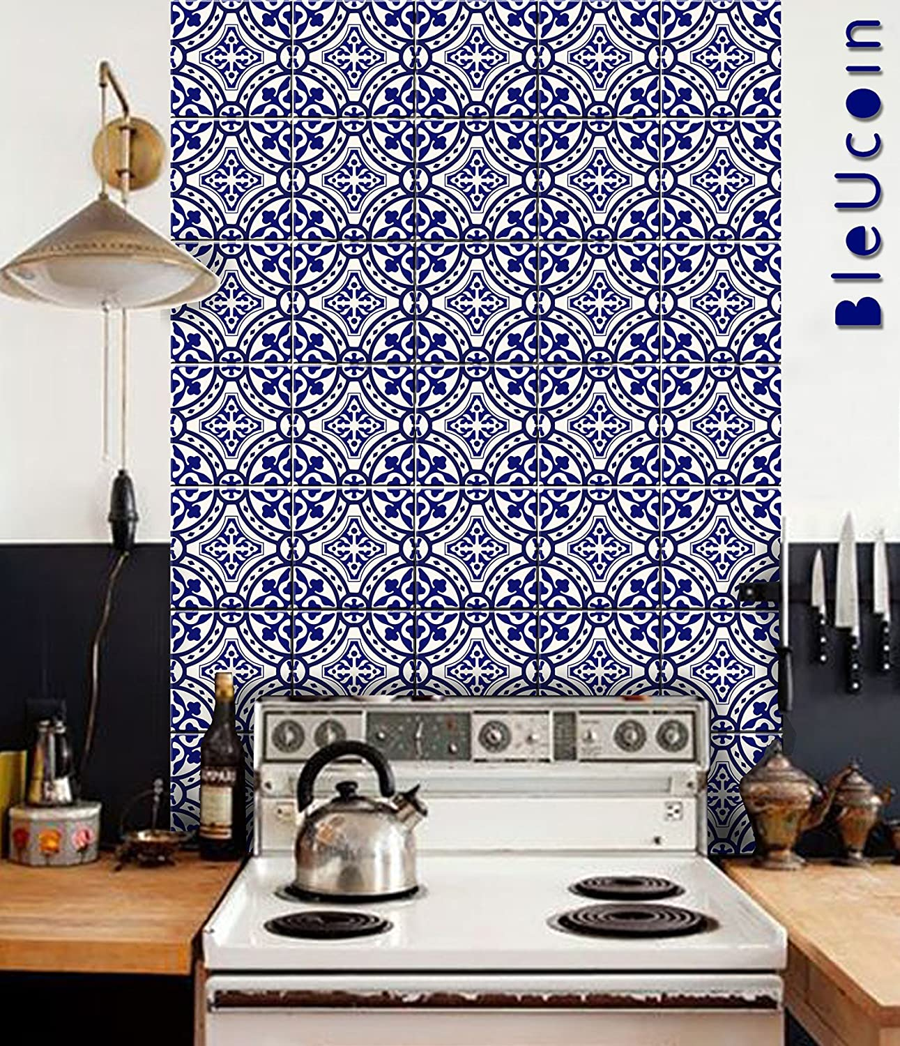 Amazon Com Peel And Stick Tile Wall Panel For Kitchen Bathroom Backsplash Removable Washable Water And Heat Resistance Vinyl Panels 4 Ft X 1 Ft 2 Panels With Grouts Blue Home Kitchen