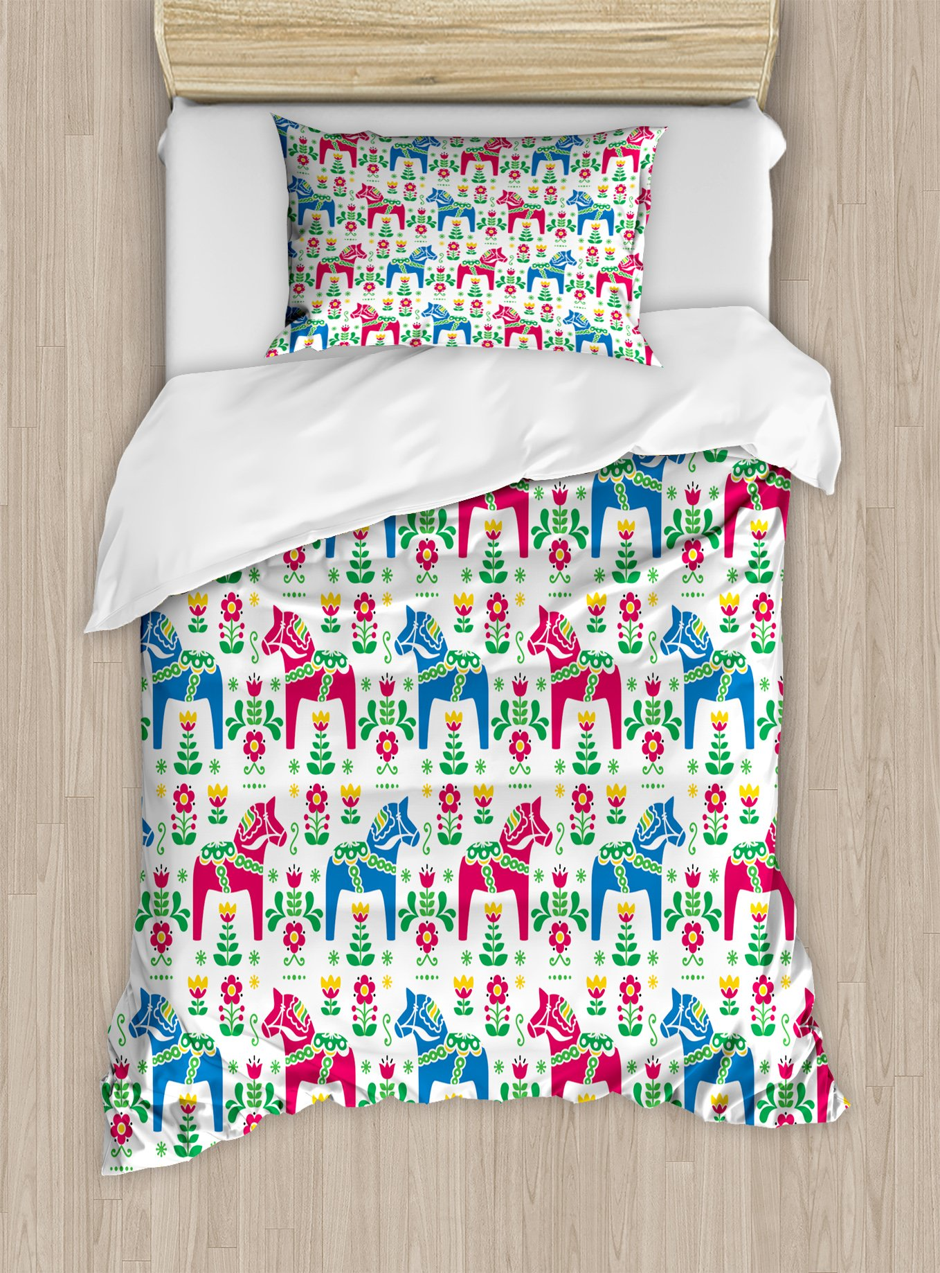 Ambesonne Horses Duvet Cover Set Twin Size, Classic Swedish Dalecarlian Coral Azure Blue Animals and Green Floral Arrangement, Decorative 2 Piece Bedding Set with 1 Pillow Sham, Multicolor