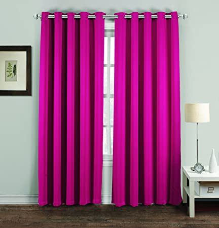 MH Distributions Luxury Thermal Supersoft Blackout Curtains Pair 66x54 Fuschia