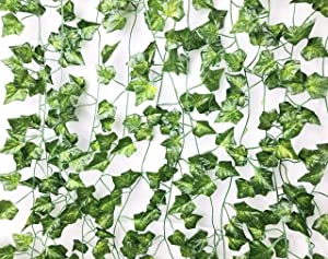 Excellous 12 Pack - 84ft Artificial Ivy Vines Leaf Garland Plants Hanging Wedding Garland Fake Foliage Flowers Home Kitchen Garden Office Wedding Wall Decor Jungle Party (Green, 84Ft)