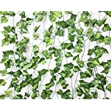Excellous 12 Pack - 84-Ft Silk Artificial Ivy Vines Leaf Garland Plants Hanging Wedding Garland Fake Foliage Flowers Home Kitchen Garden Office Wedding Plastic Wall Decor Jungle Party… (Green)