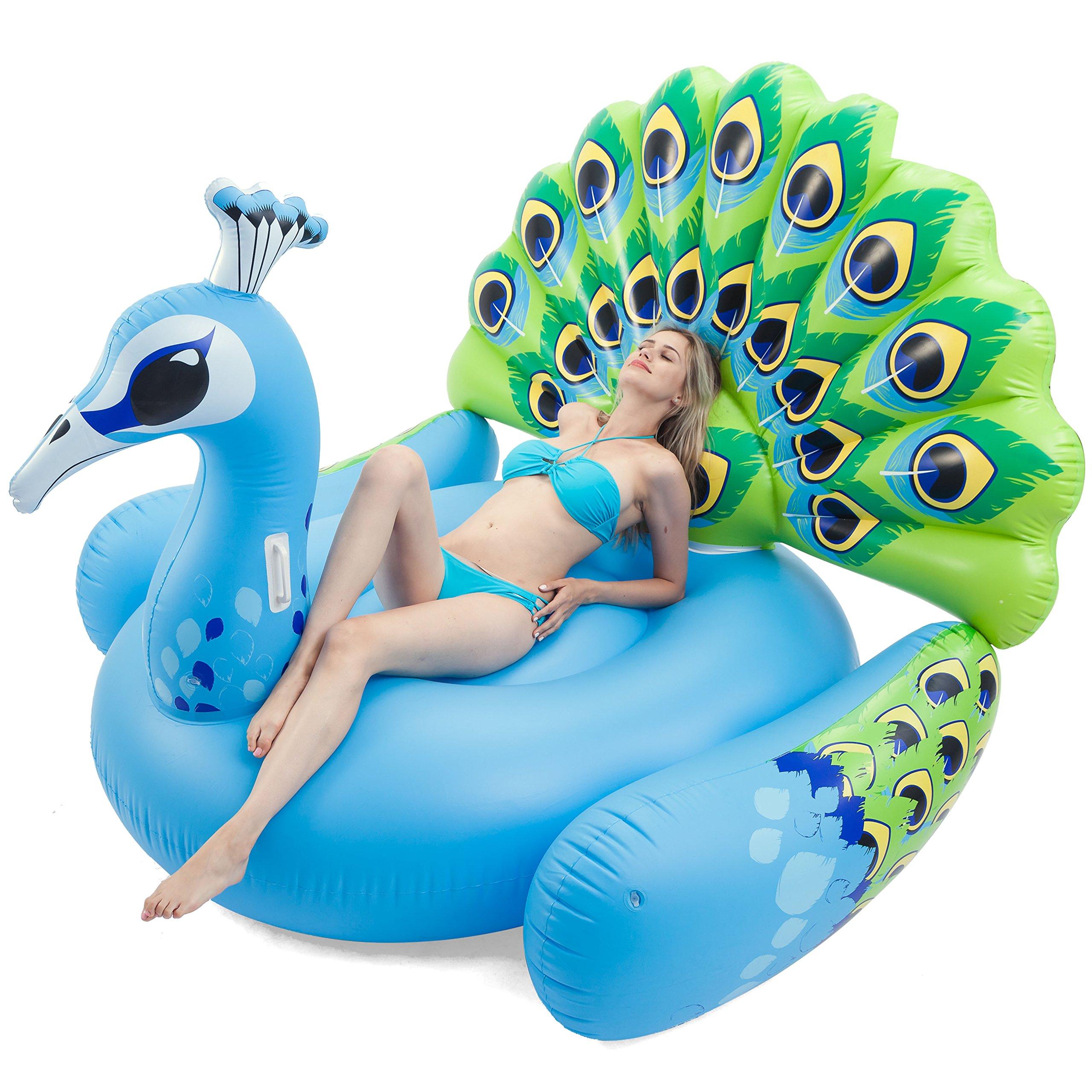 JOYIN Giant Inflatable Peacock Pool Float, Fun Beach Floaties, Swim Party Toys, Pool Island, Summer Pool Raft Lounge for Adults & Kids by by JOYIN