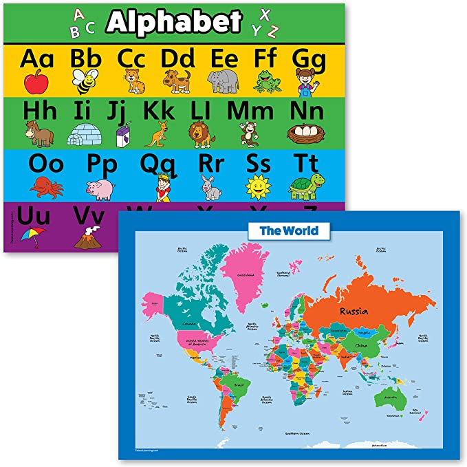 ABC Alphabet /& World Map for Kids Laminated, 18 x 24 2 Pack