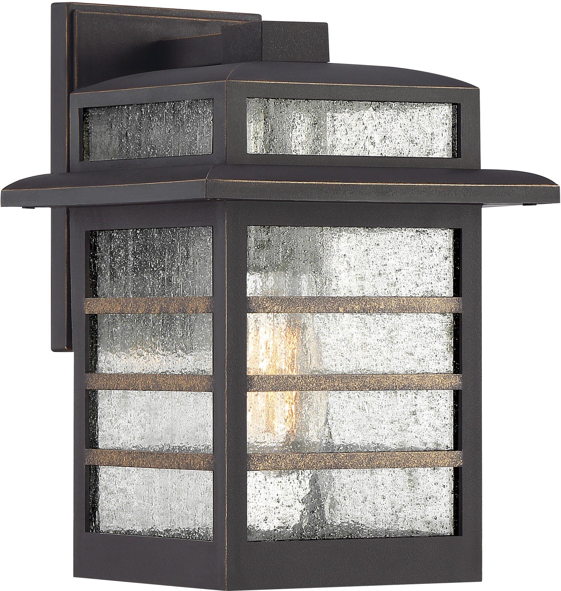 Quoizel PLA8408PN Plaza Outdoor Wall Sconce Lighting, 1-Light, 100 Watt, Palladian Bronze (12''H x 8''W)