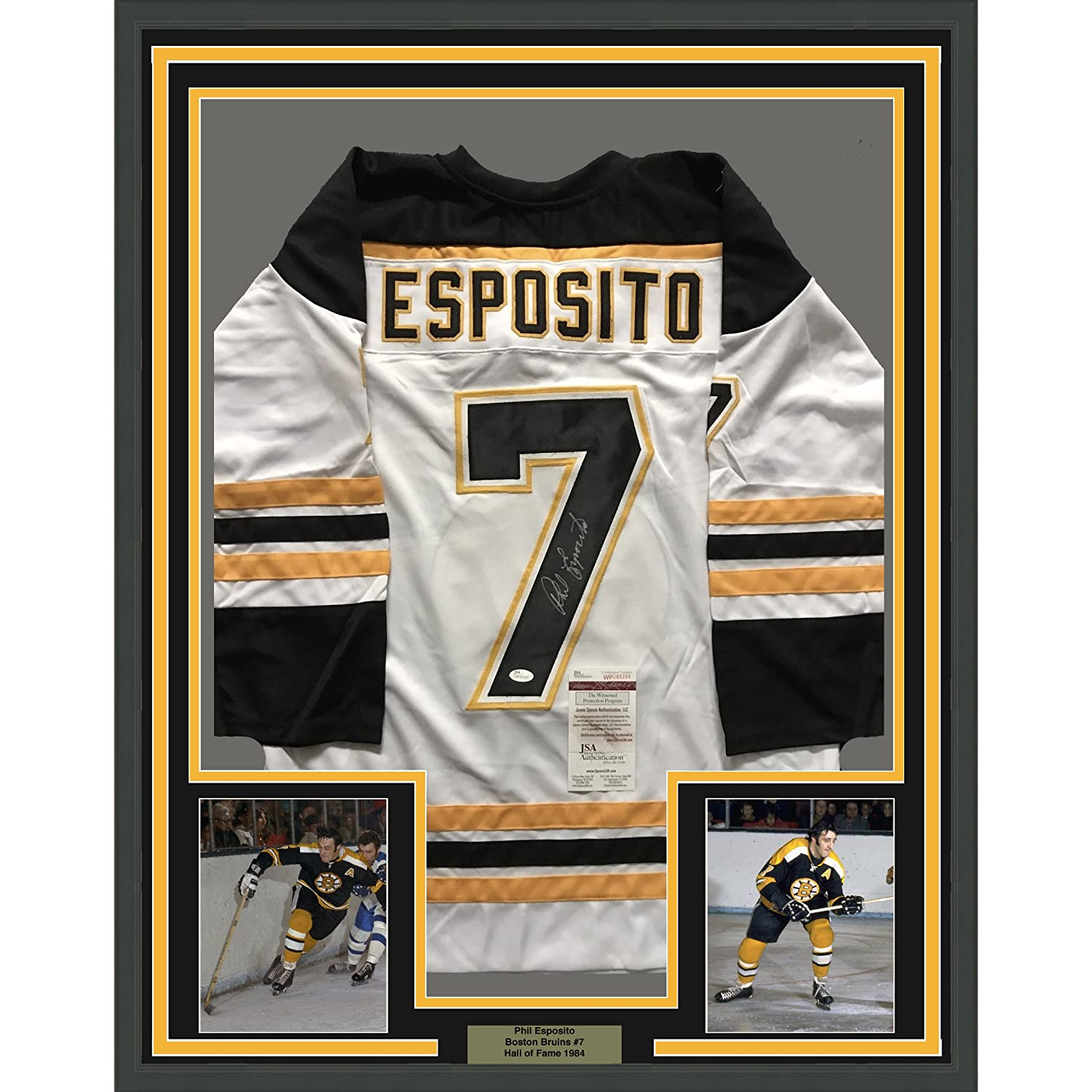 Framed Autographed Signed Phil Esposito 33x42 Boston White Hockey Jersey  JSA COA at Amazon s Sports Collectibles Store dcfd88b17
