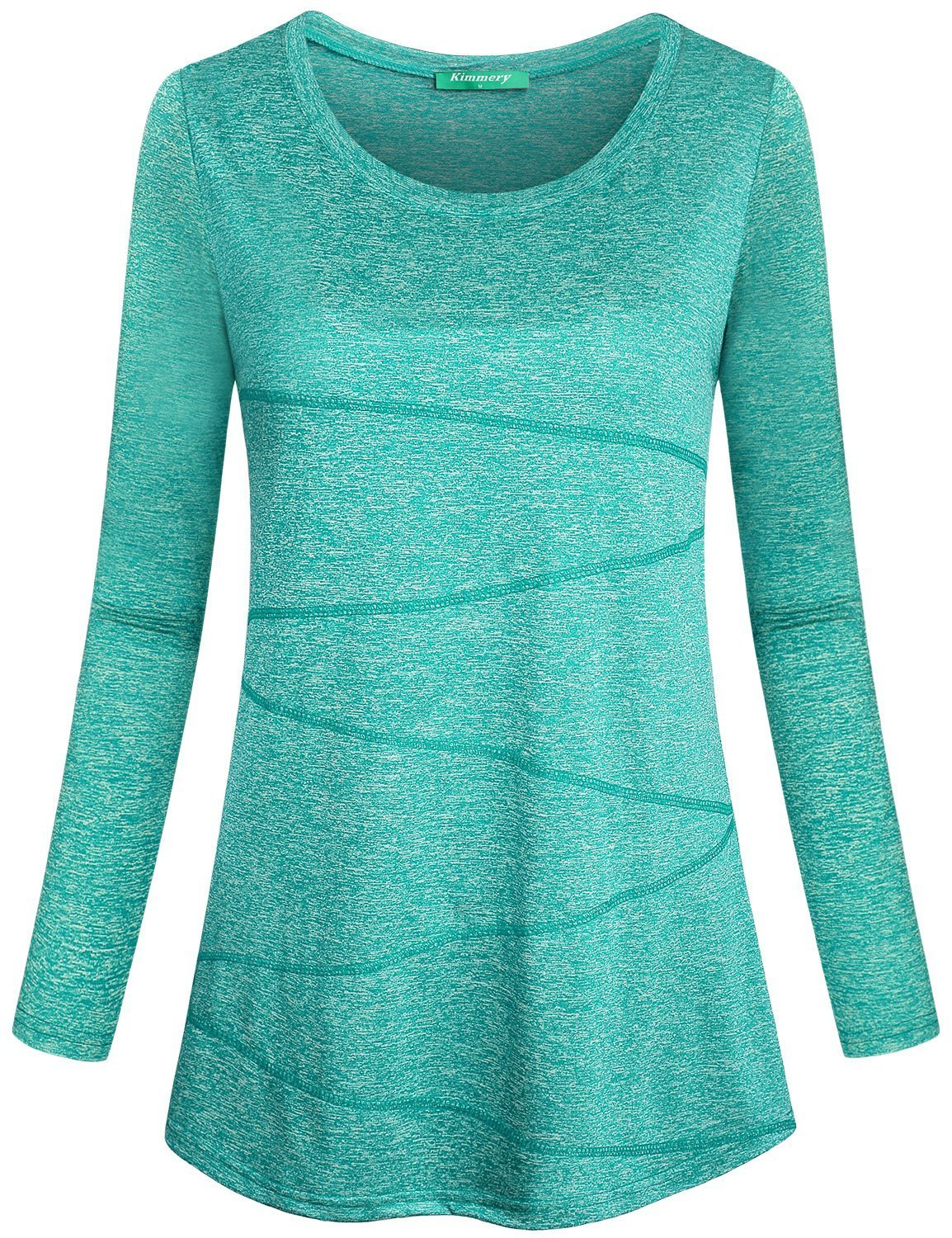 Kimmery Flattering Shirts for Women, Workout Tshirts Moisture-Wicking Loose Fit Tops Long Sleeve O Neck Easy Moving Lines Décor Sports Wear for Spring Autumn Light Green X Large by Kimmery