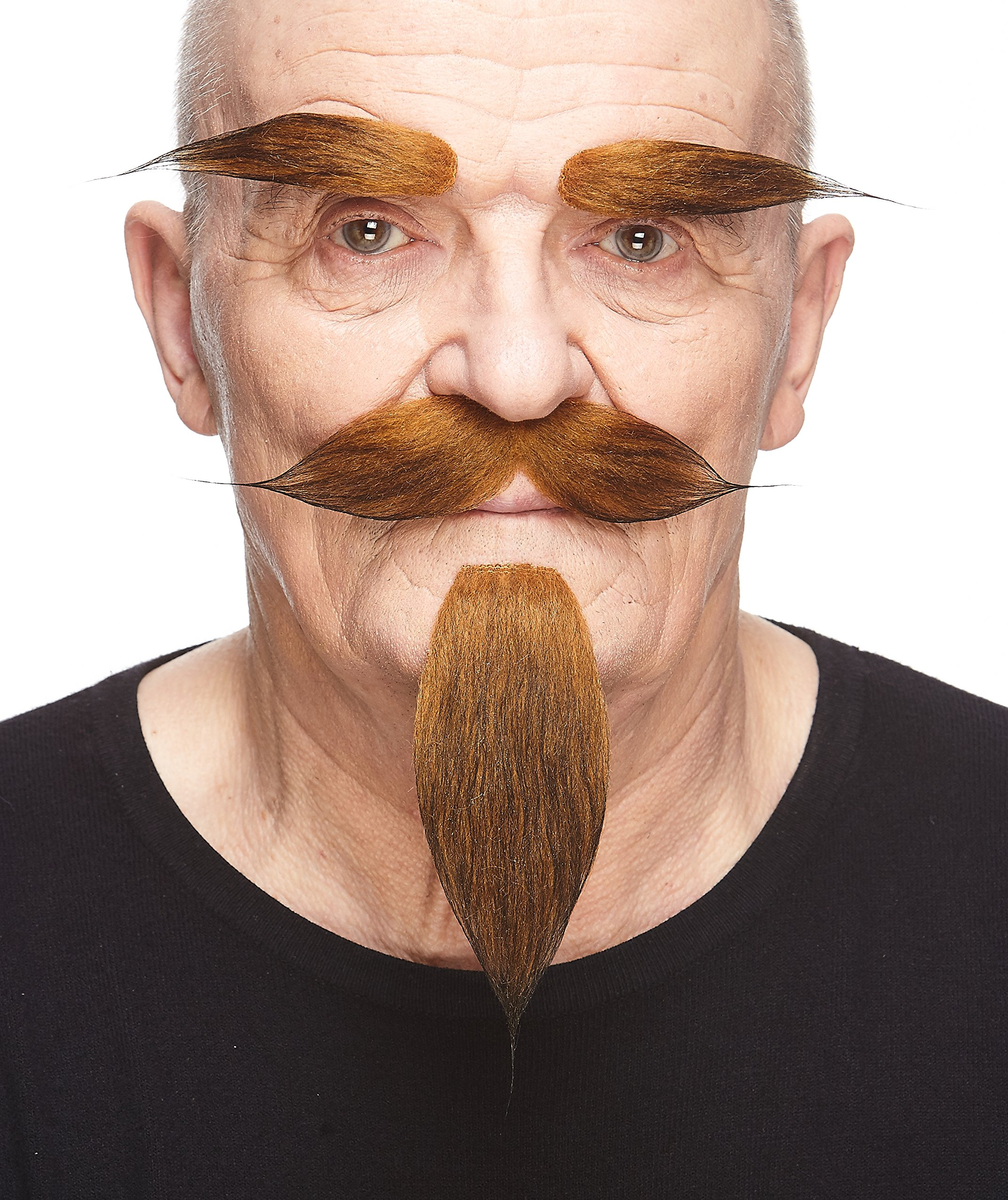 Mustaches Self Adhesive, Novelty, Hairy Russian Fake Beard, Fake Mustache and Fake Eyebrows, Ginger Color