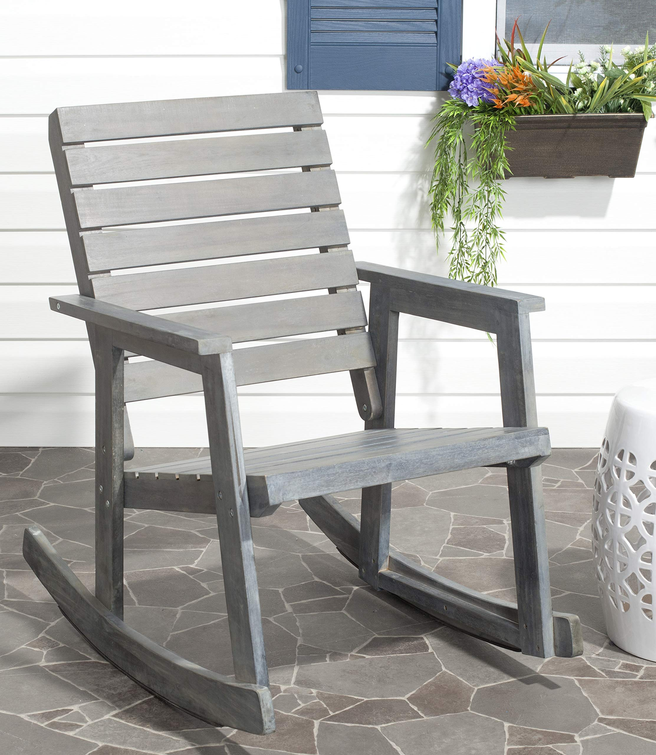 Safavieh Outdoor Collection Alexei Ash Grey Rocking Chair, White
