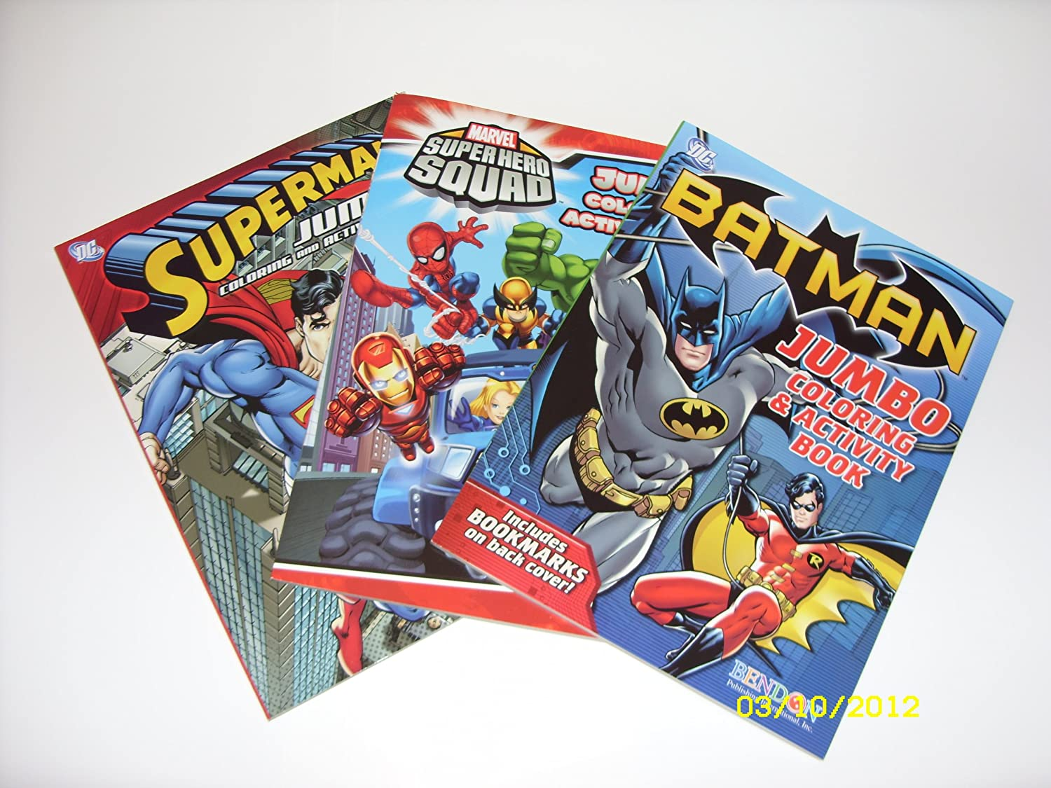 Amazon Batman Superman And SuperHero Squad Coloring Book Activity Bundle With A Bonus Pack Of 24 Crayons Toys Games