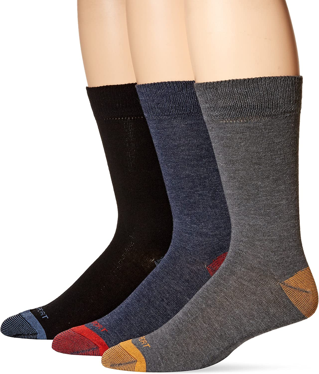 Rockport Men's Basic Flat Knit Crew Sock, Black/Charcoal/Navy Assorted, Sock Size:10-13/Shoe Size: 6-12