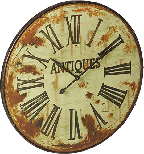 Creative Co-op Antiques Distressed Green Round Metal Wall Clock