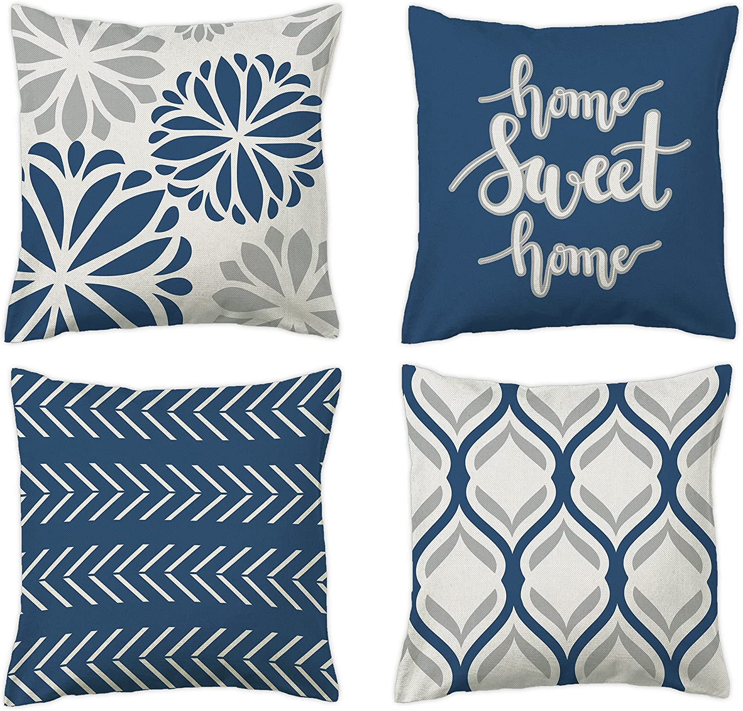 pinata Blue Throw Pillow Cover 18 X 18 Set of 4 Blue Gray Decorative Pillow Covers for Living Room Couch Sofa Bed, Morden Boho Accent Geometric Pillowcase for Outdoor Patio, Linen Blue Home Decor