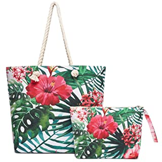 Beach Bag for Women Canvas Tote Pool Bag with Matching Water Resistant Clutch Cotton Rope Handles