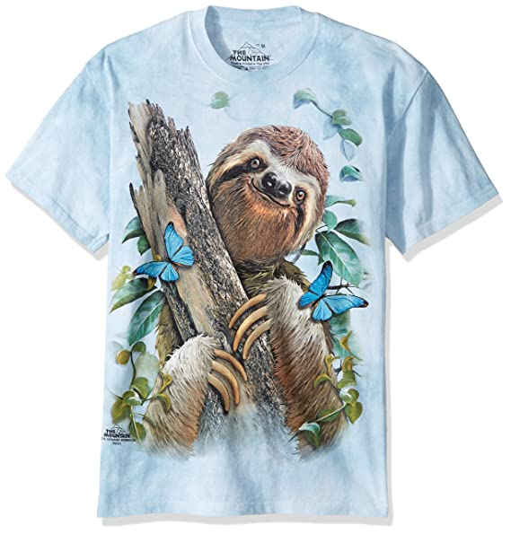 d7d5b96f1de Amazon.com  The Mountain Adult Unisex T-Shirt - Sloth   Butterflies ...